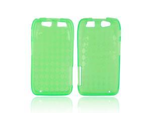 Motorola Atrix HD Crystal Rubbery Soft Silicone Skin Case - Diamond Pattern Green