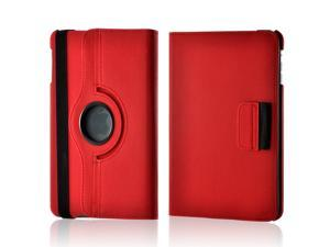 Red/ Gray Hard Plastic Case Snap On Cover W/ Flip Cover, Rotatable Shield Stand, & Card Slots For Apple Ipad Mini