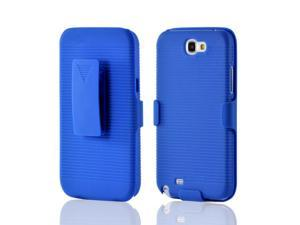 Blue Rubberized Hard Plastic Case Snap On Cover And Holster Combo W/ Kickstand For Samsung Galaxy Note 2
