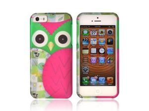 Apple Iphone 5 Rubberized Hard Plastic Case Snap On Cover - Green/ Hot Pink Owl Design