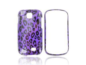 Samsung Galaxy Appeal Hard Plastic Case Snap On Cover - Purple/ Black Leopard