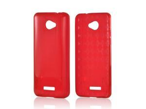 Red Crystal Rubbery Feel Silicone Skin Case Cover For HTC Droid DNA