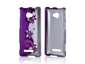 HTC 8X Rubberized Hard Case - Purple Flowers/ Vines on Silver