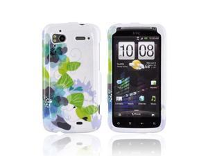 Blue Green Lillies White Hard Plastic Snap On Case Cover For HTC Sensation 4G