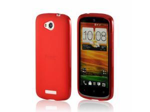Red Crystal Rubbery Feel Silicone Skin Case Cover For HTC One VX