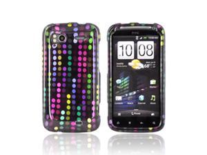 Color Falling Dots Black Hard Plastic Snap On Case Cover For HTC Sensation 4G