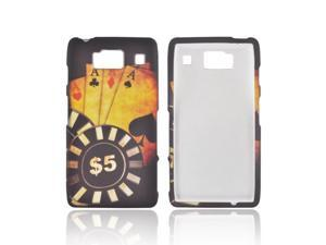 Motorola Droid RAZR HD Rubberized Plastic Snap On Cover - Black/ Gold Aces Poker