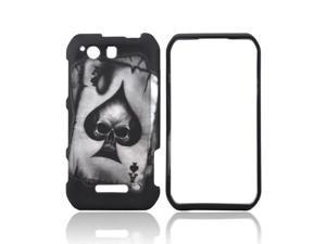 Motorola Photon Q 4g LTE Rubberized Hard Plastic Case Snap On Cover - Ace Skull On Black