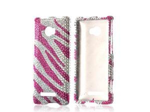 Bling Hard Plastic Case Snap On Cover Hot Pink/ Silver Zebra For HTC 8x
