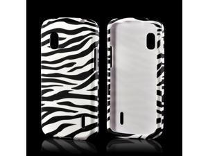 White/ Black Zebra Rubberized Hard Case for LG Google Nexus 4
