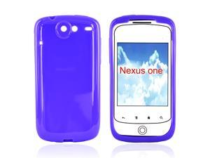 Google Nexus One Crystal Rubbery Feel Silicone Skin Case Cover - Solid Purple