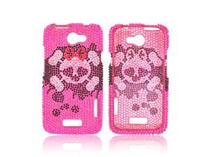 HTC One X Bling Hard Plastic Case Snap On Cover - Silver Skull W/ Bow On Black/ Pink Gems