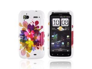 Colorful Flowers White Hard Plastic Snap On Case Cover For HTC Sensation 4G