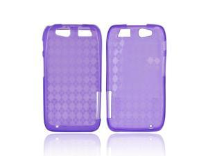 Motorola Atrix HD Crystal Rubbery Soft Silicone Skin Case - Diamond Pattern Purple