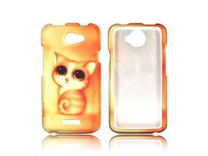 HTC One X Rubberized Hard Plastic Case Snap On Cover - Gold/ Orange Cute Cat
