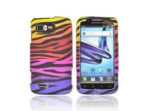 Motorola Atrix 2 Rubberized Hard Plastic Case Snap On Cover - Rainbow Zebra On Black