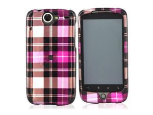 HTC Nexus One Hard Plastic Case - Plaid Pattern Of Hot Pink, Brown, Pink