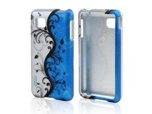 Black Vines On Silver/Blue Rubberized Plastic Case Cover For LG Optimus F3