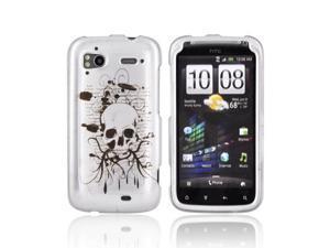 Slim & Protective Hard Case for HTC Sensation 4G - Black Skull on Silver - OEM