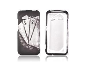 HTC Droid Incredible 4g Rubberized Hard Plastic Case Snap On Cover - Black/ White Aces W/ Laurel Leaf Imprint