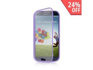 Lavender Crystal Silicone Rubber Skin Case w/ Clear Flip-Open Screen Protector Guard Cover for Samsung Galaxy S4