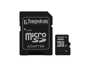 Kingston 16gb Micro SDHC Memory Card W/ SD Adapter