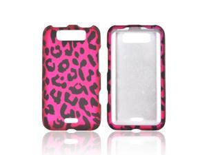 LG Connect 4g Rubberized Hard Plastic Case Snap On Cover - Hot Pink/ Black Leopard