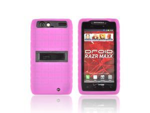 Hot Pink Black Dual Layer Hard Silicone Case W Stand For Motorola Droid RAZR MAXX