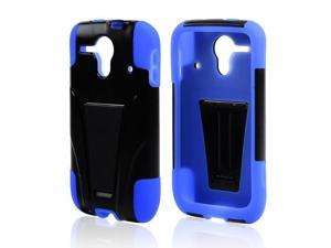 Black Hard Plastic Case Snap On Cover W/ Kickstand On Blue Rubbery Feel Silicone Skin Case Cover For Kyocera Hydro Edge