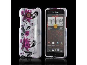 Magenta Flowers & Black Vines on White Hard Case for HTC Droid DNA