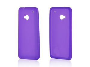 Purple Rubbery Feel Silicone Skin Case Cover For HTC One