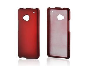 Red Rubberized Hard Plastic Case Snap On Cover For HTC One