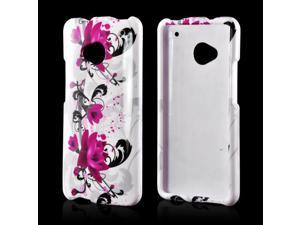 Slim & Protective Hard Case for HTC One M7 - Magenta Flowers & Black Vines on White