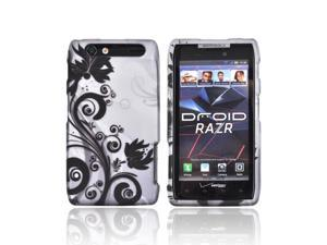 Motorola Droid RAZR Rubberized Hard Plastic Case Snap On Cover - Black Vines & Flowers On Silver