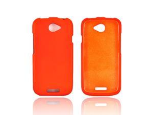HTC One S Rubberized Hard Plastic Case Snap On Cover - Orange