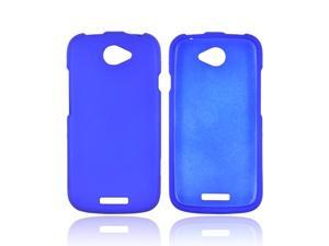 HTC One S Rubberized Hard Plastic Case Snap On Cover - Blue
