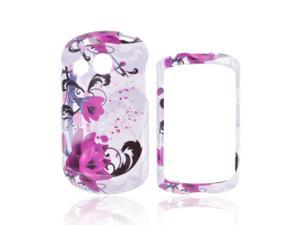 Slim & Protective Hard Case for Pantech Swift - Magenta Flowers & Black Vines on White