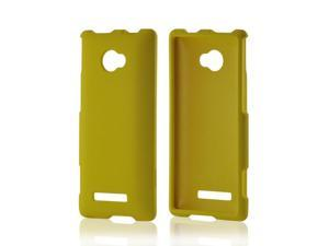Yellow Rubberized Hard Plastic Case Snap On Cover For HTC 8x