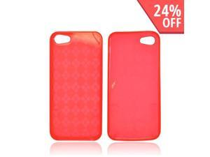Apple Iphone 5 Crystal Rubbery Feel Silicone Skin Case Cover - Argyle Red
