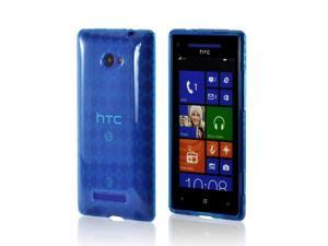 Blue Argyle Crystal Rubbery Feel Silicone Skin Case Cover For HTC 8x