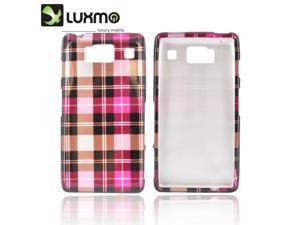 Slim & Protective Hard Case for Motorola Droid RAZR HD - Hot Pink / Brown Plaid