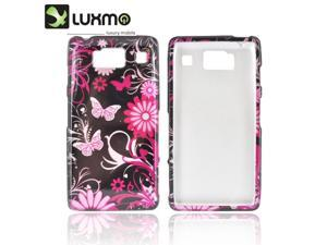 Motorola Droid RAZR HD Hard Plastic Case Snap On Cover - Pink Flowers & Butterflies On Black