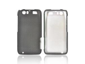 Motorola Atrix HD Rubberized Hard Plastic Case Snap On Cover - Black/ Gray Carbon Fiber Design