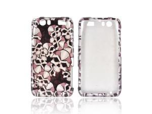Slim & Protective Hard Case for Motorola Atrix HD - Silver Skulls on Black