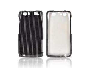 Motorola Atrix HD Hard Plastic Case Snap On Cover - Silver Lines On Black