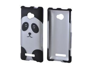 HTC 8x Rubberized Hard Plastic Case Snap On Cover - Silver/ Black Panda