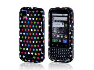 Matte Rubberized Hard Plastic Case Snap On Cover Rainbow Polka Dots On Black For Motorola XPRT Mb612