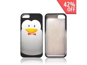 Apple Iphone 5 Rubberized Hard Plastic Case Snap On Cover - Black/ Silver Penguin W/ Bow Tie