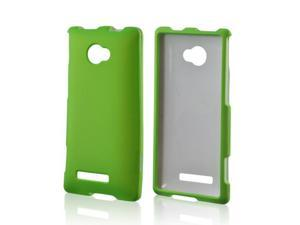 HTC 8x Rubberized Hard Plastic Case Snap On Cover - Neon Green