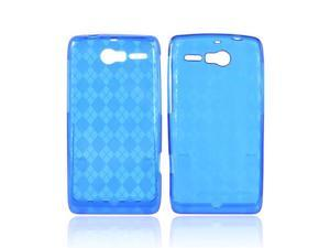 Motorola Droid RAZR M Crystal Rubbery Feel Silicone Skin Case Cover - Argyle Blue